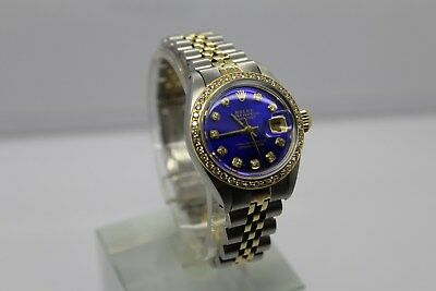 Rolex Ladies Datejust 6917 Two-Tone 26mm Blue with AM Diamond Dial and AM Bezel