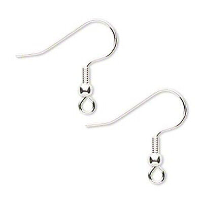 100 Silver Plated Hypo Allergenic Coil w Ball Ear wires Ear hook