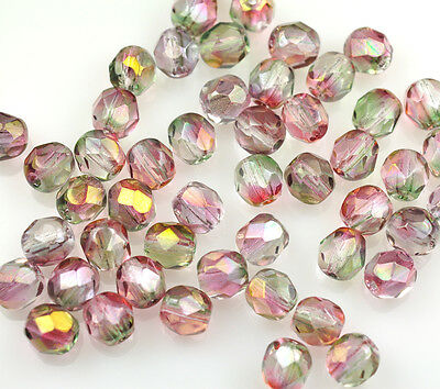 50 Pink  Green Czech Glass Fire Polished Faceted Beads 6MM