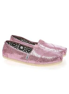 NEW WOMENS TOMS PINK GLITTER ROSE CLASSIC ORIGINAL SLIP ON SHOES SIZE 8-5 💕
