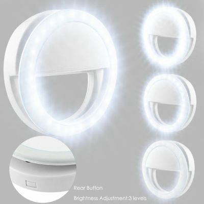 Portable Selfie LED Light Ring Fill Camera Flash Mobile Phone For iPhone Samsung