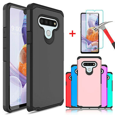For LG Stylo 5Stylo 44- Plus Armor Case Cover-Tempered Glass Screen Protector