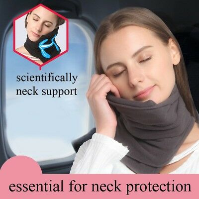 TRAVEL PILLOW Super Soft Neck Support for Airplanes Black