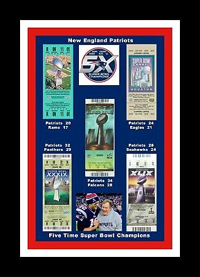 NEW ENGLAND PATRIOTS MATTED PIC OF ALL 5 SUPER BOWl TICKETS SB 36/38/39/49/51 #2