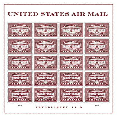 USPS New United States Air Mail Red  Pane of 20