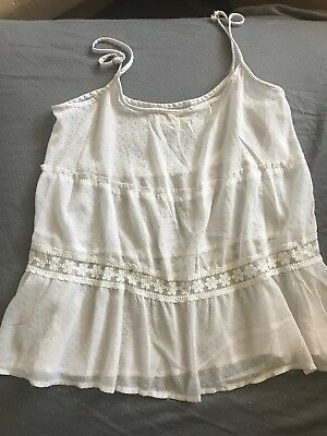 HOLLISTER Co HCO White Tank Top Camisole Cami Lace Medium Cute