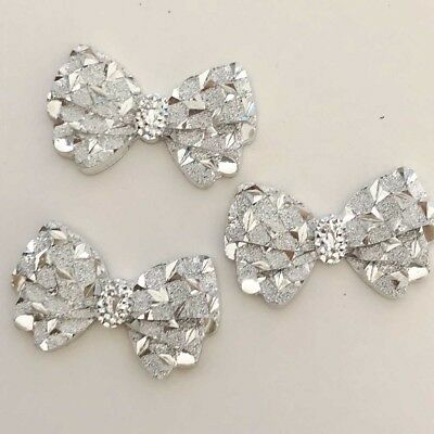 40Pcs 1423mm Silver hiny Bow Resin AppliquesCraft Christmas Home Decorate Diy