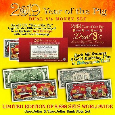 2019 Chinese New YEAR OF THE PIG Lucky Money U-S- 1 - 2 Set DUAL 8's GOLD PIGS