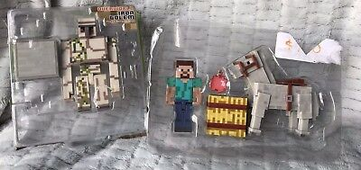 Two Sets Of Minecraft Toys Figures- 6 Pieces In All Boxes Damaged Iron Golem