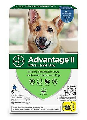 Bayer Advantage II Flea - Lice Treatment for XLarge Dogs Over 55 lb 6 doses