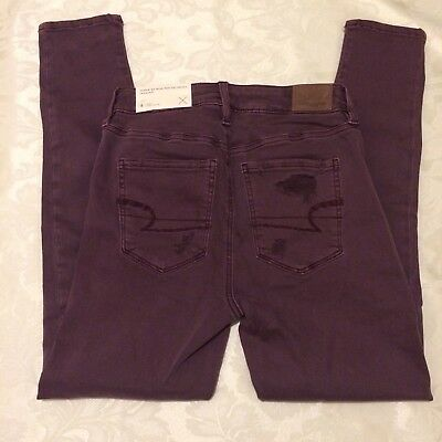 American Eagle Outfitters Maroon Denim Distressed Jeggings Sz 4 Short
