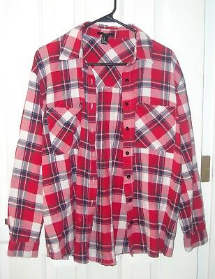 Womens Forever 21 Red White - Blue Button Up Plaid Flannel Shirt Grunge MEDIUM