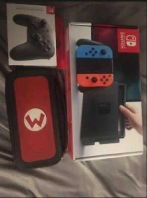 used Nintendo switch bundle with pro controller and amiibo
