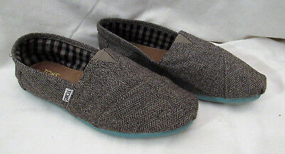 Toms Women's Size 10M Shoes Loafers Casual Wool Slip Ons BROWN Chevron Pattern