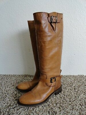 ALDO BOOTS RIDING STYLE WITH ANKLE BUCKLE TAN LEATHER SIZE 7-5  Nice