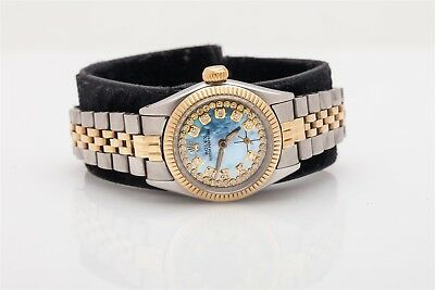 7000 Rolex Ladies Oyster Perpetual BLUE MOP Diamond 14k Gold SS Watch BOX - WTY