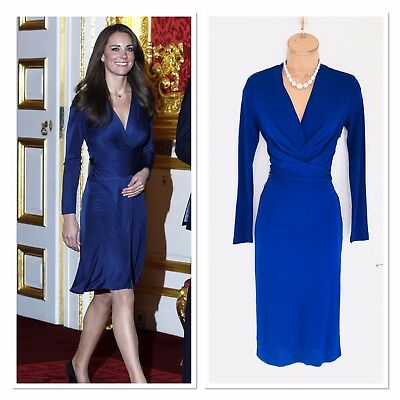 New ISSA Wrap Waist Jersey Dress Similar To Kate Middleton Uk 8