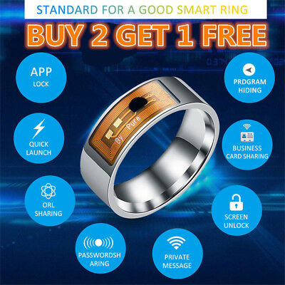 NFC Smart Magic Ring Wearable For Hawei iPhone Android Stainless Steel US