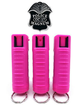 3 Magnum mace pepper spray -50oz hot pink molded keychain defense protection