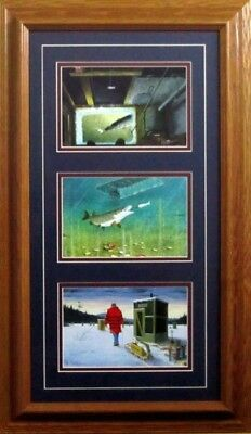 Darkhouse Spearing Trilogy By Les Kouba Framed Ice fishing Print  14 x 24-5