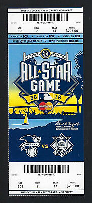 2016 MLB BASEBALL ALL-STAR GAME FULL UNUSED TICKET  SAN DIEGO PETCO PARK