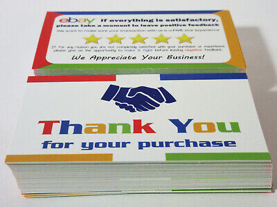 100 eBay Seller Thank You Business Cards 5 Star Feedback Reminder Size 3-5 x 2