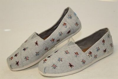 TOMS NEW Alpargata Drizzle Grey Bug Embroidered Womens 6 Flats Shoes si