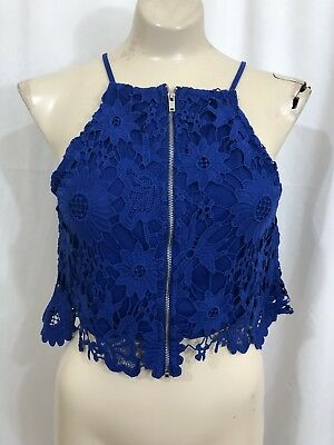 Forever 21 Womens MEDIUM Blue Lace Crop Top Zip Front Mint Condition