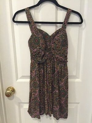 WET SEAL Summer Green Red Yellow Multi Color  Lace Dress Size Extra Small XS