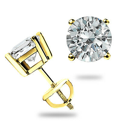 2-00CT ROUND CUT CREATED DIAMOND EARRINGS 14K SOLID YELLOW GOLD STUDS SCREW-BACK