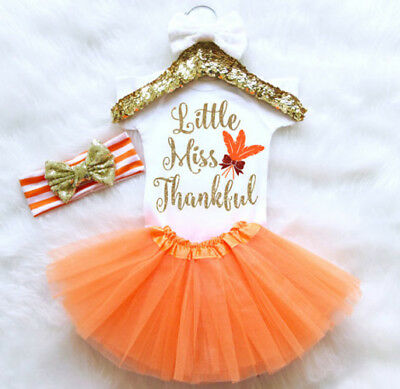 USA Newborn Infant Baby Girl Thanksgiving Romper Fancy Tutu Dress Outfit Clothes
