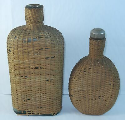 2 Antique BASKET WICKER on Green Glass FLASK Liner CWSS