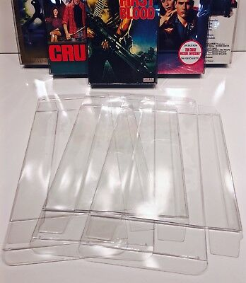 5 VHS Box Protectors For Standard VHS Tapes  Clear Plastic Display Sleeves Boxes