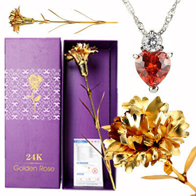 Best Mother's Day Birthday Romantic Gift  24K Gold Carnation Crystal Necklace