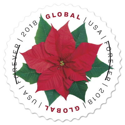 USPS New Poinsettia  Global Forever Pane of 10