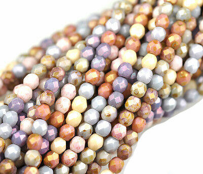 50 Luster Opaque Mix Czech Glass Fire Polished Beads 4MM