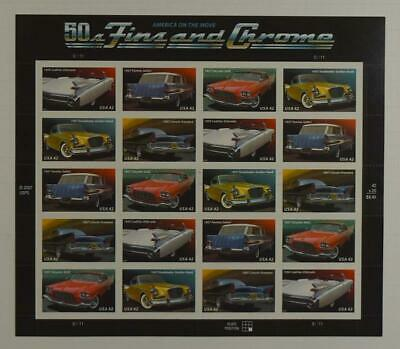 US SCOTT 4353 - 57 PANE OF 20 50S FINS AND CHROME  42 CENT FACE MNH