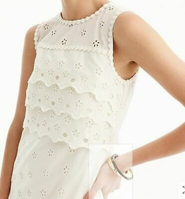 NWT J CREW Ivory Tiered Eyelet Dress Shift Easter Embroidered 10 SOLD OUT G8475