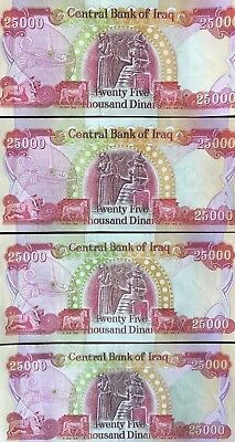 100000 IQD Currency - 4 25000 IRAQI DINAR Notes - AUTHENTIC - FAST DELIVERY