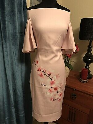 Ted Baker Blossom Off The Shoulder Bell Sleeve Sheath Dress TB Size 0 US 2