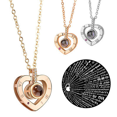I LOVE YOU in 100 languages Silver Rose Gold Necklace Mothers Day Jewelry Gifts