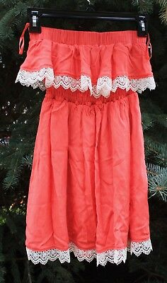 Wet Seal Strapless Coral Lace Tiered Elastic Summer Strapless Top Size Small