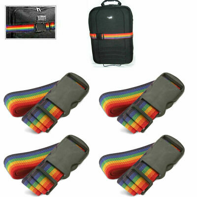New 4 Travel Luggage Suitcase Strap Baggage Backpack Bag Rainbow Color Belt
