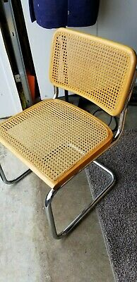 VINTAGE MARCEL BREUER CESCA CHAIRS CHROME WICKER CANE