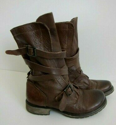 Steve Madden Banddit Brown Leather Buckle Slouch Moto Combat Boot Women Size 6-5