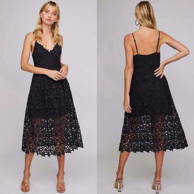 NEW ASTR The Label CHARCOAL Plunging Neck LACE A LINE Prairie MIDI DRESS M L