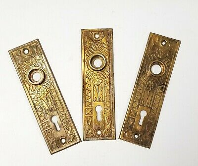 A07  Antique Door Knob Back Plate 5 38 x 1 916 Key Hole Pressed Metal Ornate