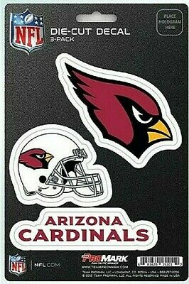 Arizona Cardinals NFL Die-Cut Decal Stickers  3 Pack Free Shipping