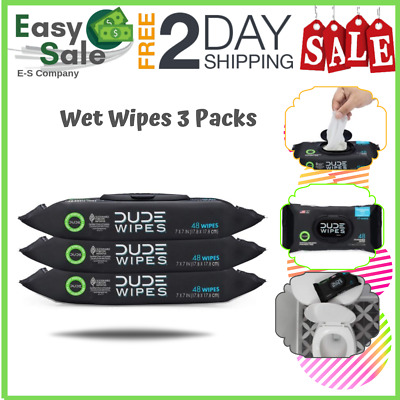 Ess Fresh Flushable Unscented Wet Wipes Vitamin-E Aloe 3 Packs 48 Dude Wipes US