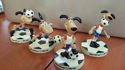 Set of 4 1994 '94 FIFA World Cup USA Soccer Mascot Dog Striker Figurines